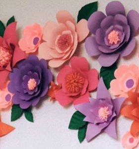 Бумажные декоративные цветы(настенные)
