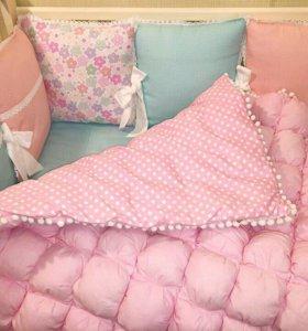 Одеяло и бортики бом-бон