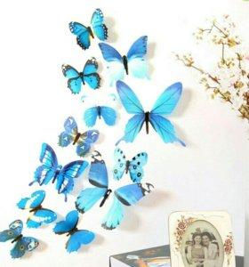 3д бабочки на стену