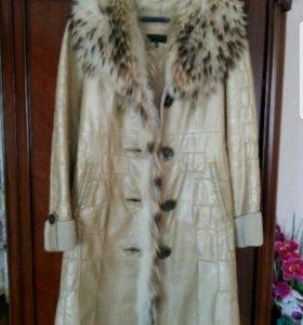 Кажанное пальто на натуральном меху