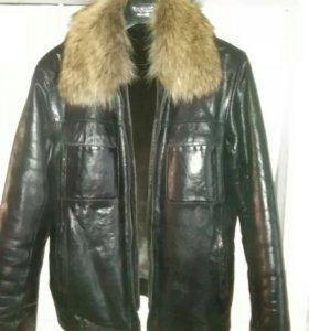 Мужская куртка из натуральной кожи с натур. мехом