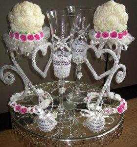Свечи и бокалы на свадьбу