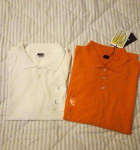 Футболка-поло оранжевая и белая