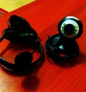 Веб-камера и наушники с микрофоном
