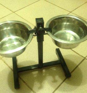 Подставка для кормления с двумя мисками