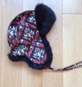 Шапка ушанка с мехом кролика в русском стиле