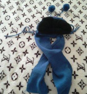 Шапка теплая с шарфиком