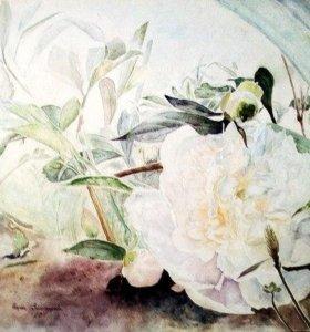 Картина акварелью Пион.