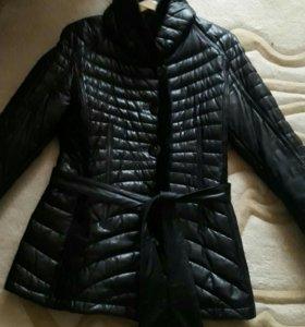 Куртка утепленная, натуральная кожа, на синтепоне