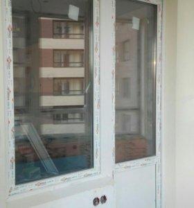 Пластиковое окно с балконной дверью б/у