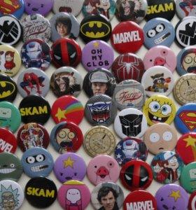 Значки по комиксам, сериалам, аниме