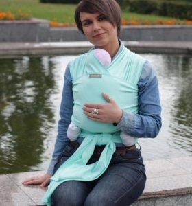Слинг-шарф трикотажный новый, цвет мятный. Хлопок.