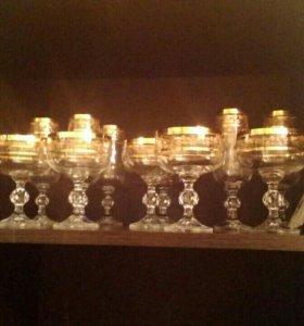 Богемское стекло' новые'' бокалы под шампанское