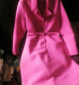 Платье ярко розовое,в рубчик,Англия!