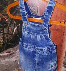 Новый джинсовый сарафан 6-9 м.