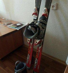 Лыжи горные+ботинки37,5