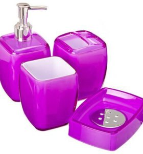 Набор для ванной 4 пр., акрил, лиловый