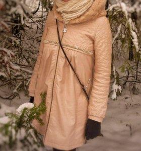 Пальто с утепл. подкладом, капюшон - мех кролика