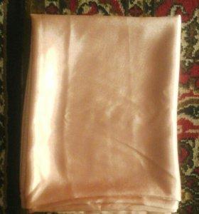 Ткань атлас, цвет белый и персиковый