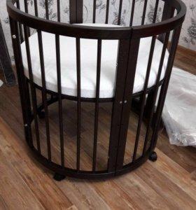 детская кроватка 6в1 с маятником