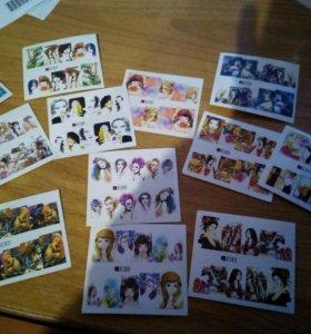 Водные стикеры с женскими образами (12 штук)