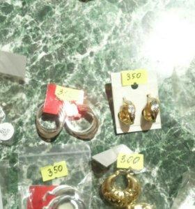 Серьги и кольца с добавлением серебра и золота