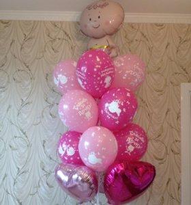 Фонтан букет из шаров в роддом на рождение дочки