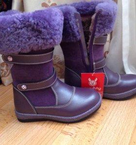 Сапоги новые зимние кожаные с натуральным мехом