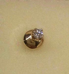 Пуссета золото 585 бриллиант 0.06 ct