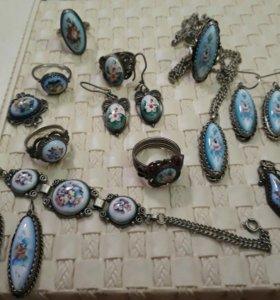 Финифть, СССР и новая, кольца, серьги, браслеты