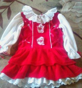Платье велюр  на 1-1.5года