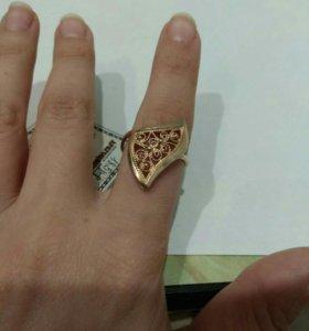 Кольцо серебро позолоченное