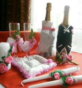 Свадебный набор аксессуаров розовый