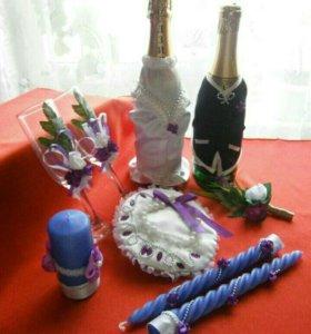 Свадебный набор аксессуаров фиолетовый