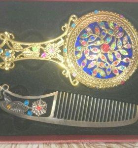Подарочный набор зеркало и расческа