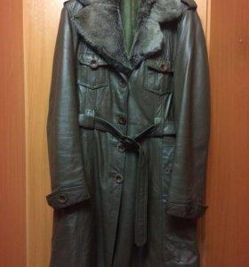 Кожаное пальто на синтепоне 1800/1000