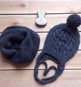 Детская шапка с ушками и шарф
