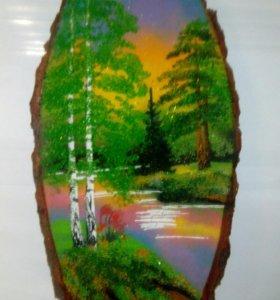 Панно на срезе дерева