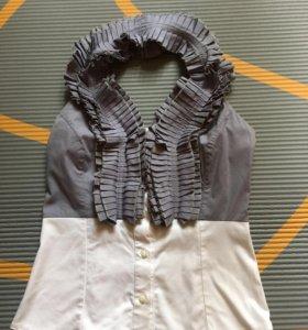 Блузка новая через шею без бретель хлопок стоетч
