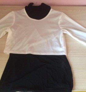 Топ и прозрачная чёрная кофта для девочки