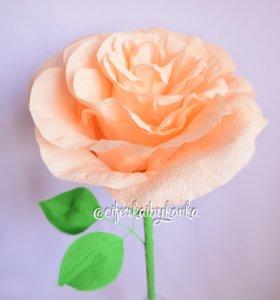 Бумажный цветок роза высотой 1м