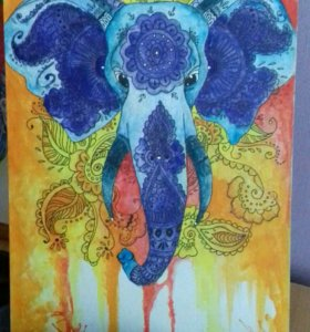 """Картина""""Слон"""",акварель,холст"""