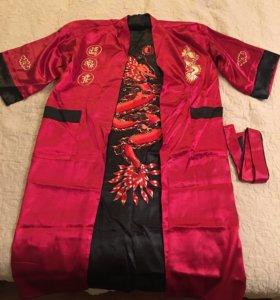 Новый мужской халат (кимоно) с вышивкой Драконом