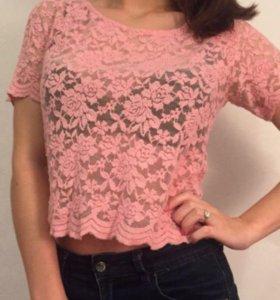 Розовая ажурная блузка