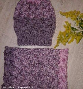 Комплект - шапка и снуд ( осень - зима )