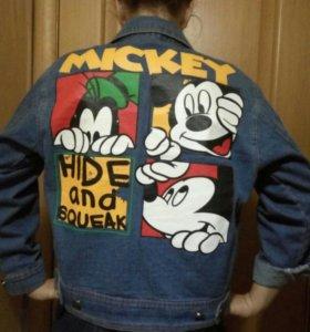 Джинсовая куртка с Микки Маусом