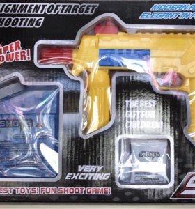 Пистолет 2в 1 (присосками и шариками из гелом)