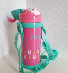детский термос бутылочка с трубочкой