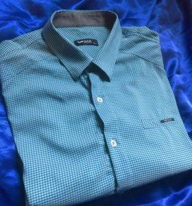 Рубашка синяя мужская короткий рукав XL