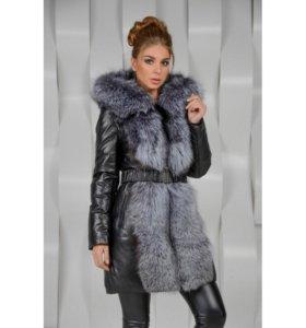 Зимняя кожанная куртка с мехом